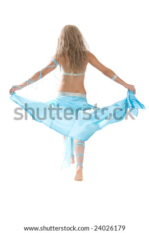 Girl dances east dance isolated on a white background
