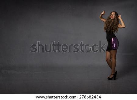 girl dancing , abstract situation - stock photo
