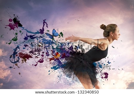 Girl dancing during sunrise with motion effect - stock photo