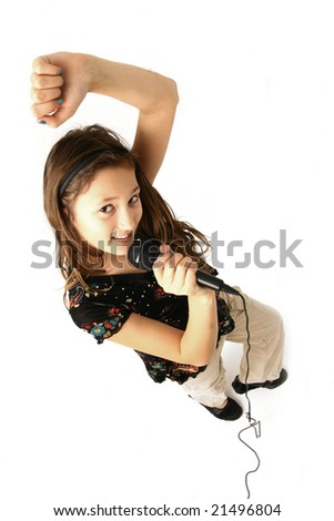 Girl dancing on white background