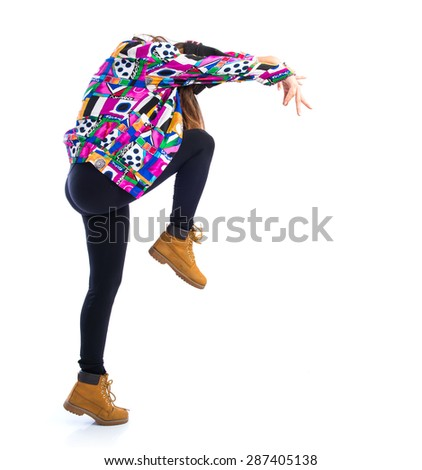 Girl dancing street dance - stock photo
