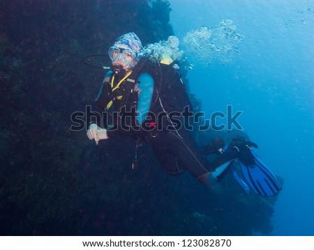 girl diver - stock photo