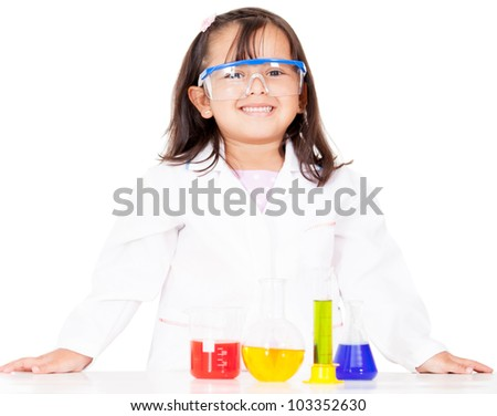Girl doing experiments at the lab - isolated over a white background - stock photo