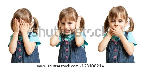 Girl doing hear no evil, see no evil and speak no evil - stock photo