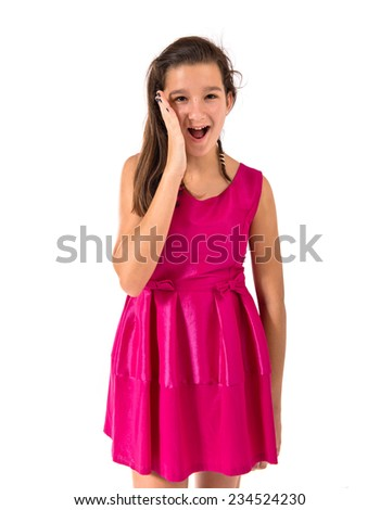Girl doing surprise gesture over white background - stock photo