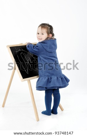 girl draw on whiteboard