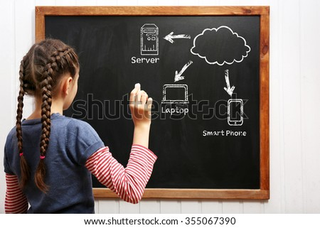 Girl drawing cloud network on the chalkboard - stock photo