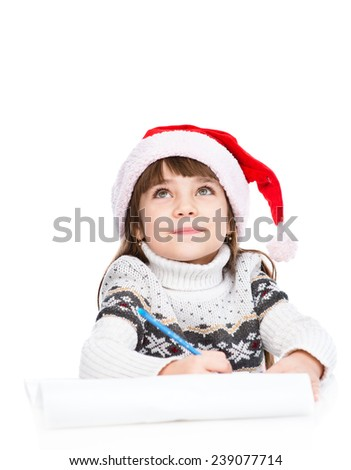 girl dream about gifts and thinking what to write in a letter to Santa Claus. isolated on white background - stock photo