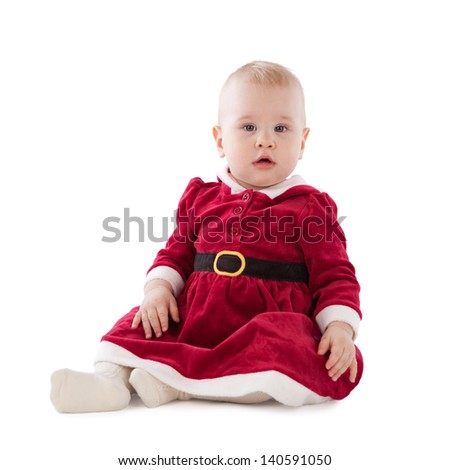 girl dressed as Santa, insulation