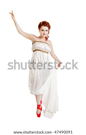 Girl dressed in greek costume dancing isolated on white