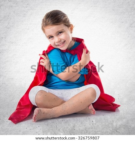 Girl dressed like superhero