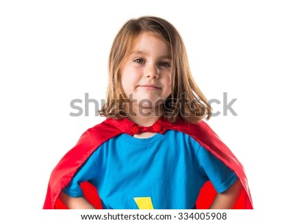 Girl dressed like superhero - stock photo