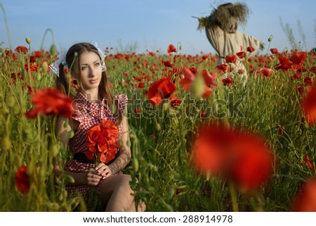 Girl dressed up as Dorothy from Oz. poppy field. With scarecrow - stock photo