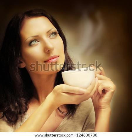 Girl drinking coffee, art fashion portrait - stock photo
