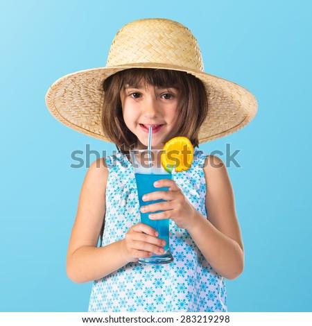 Girl drinking soda - stock photo