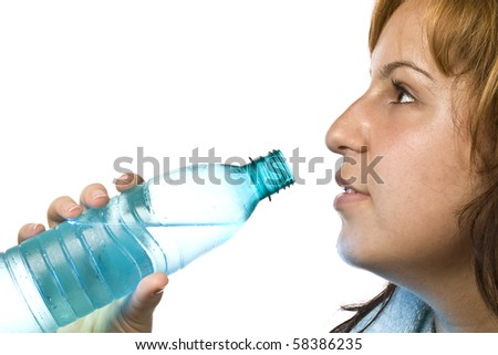 girl drinks water - stock photo