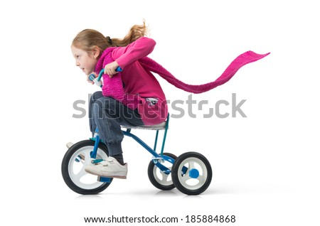 Girl drives a bicycle on white background - stock photo