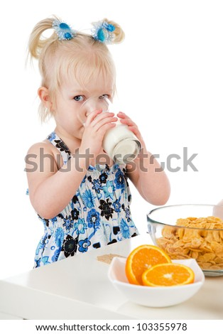 girl eating healthy food. isolated on white background - stock photo