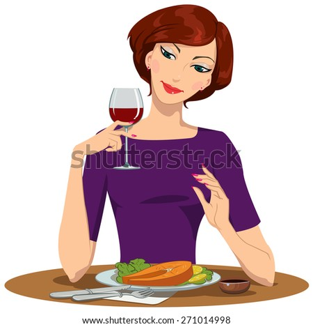 girl eating salmon Steak and drinking red wine - stock photo