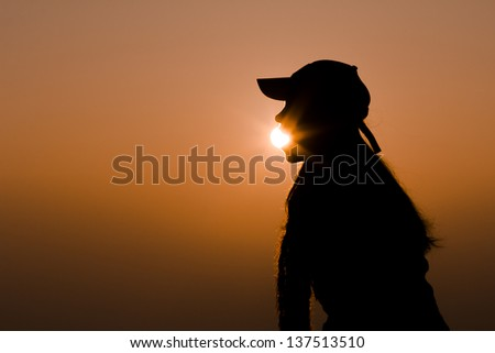 Girl Eating Sun Emotion Concept Silhouette