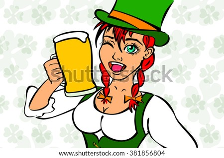 Girl elf green costume St. Patrick day art