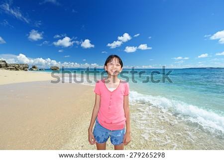 Girl enjoy the sun - stock photo