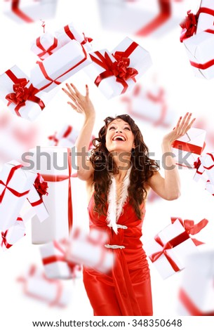 girl enjoys the rain of the gifts - stock photo