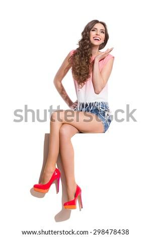 Girl Enjoys The Summer. Full length studio shot isolated on white. - stock photo