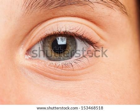girl eye close up on a white background - stock photo