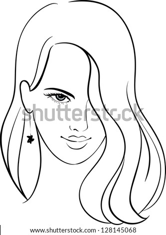 Girl Face with Beautiful Hair, Sketch