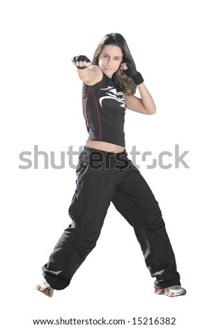 girl fighting in a white background