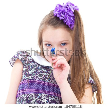 girl, flower, smell and summer-Little girl enjoys the smell of flowers. isolated on white background.