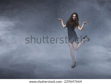 girl fly like a bird in a concept travel image - stock photo