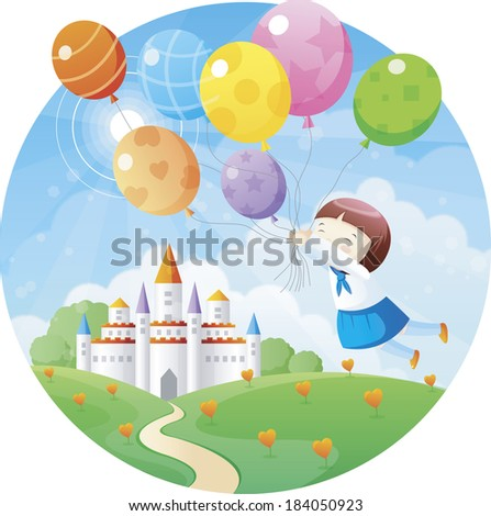 Girl flying over a castle with a bunch of balloons
