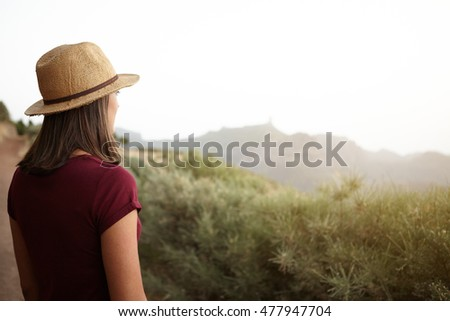 Girl from behind looking at the mountains in very bright sun wearing a t-shirt and a straw hat over her loose hair