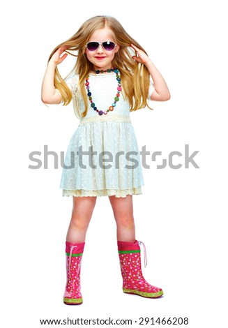 girl full body isolated portrait in fashion style. long blond hair. - stock photo