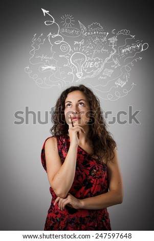 Girl full of doubts and hesitation. Concept of ideas and fantasy. - stock photo