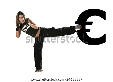 girl give a kick on the euro symbol - stock photo