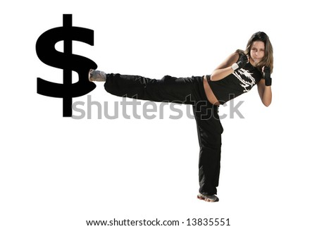 girl give a kick on the USD symbol - stock photo