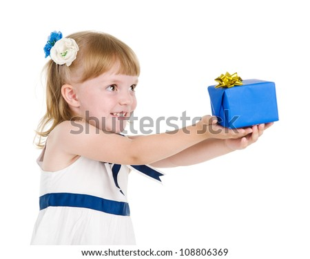 girl giving a present. isolated over white background
