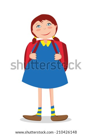 girl goes to school - stock photo