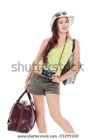 girl going on a journey, white background - stock photo