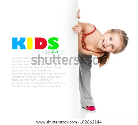 girl gymnast on a white background - stock photo