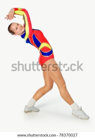 girl gymnast on a white background.sporting exercise.plastic study.aerobics.flexibility - stock photo