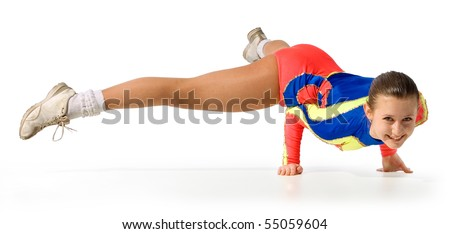 girl gymnast on a white background.sporting exercise.stand on two hands - stock photo