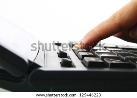 girl hand calculate on white background