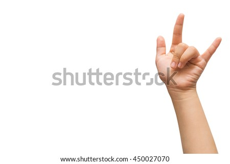 Girl hand for I Love you hand sign,hand language isolated on white with copyspace. - stock photo