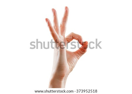 Girl hand gesture is all right everything is OK. Isolated on white background. Success gesture - stock photo