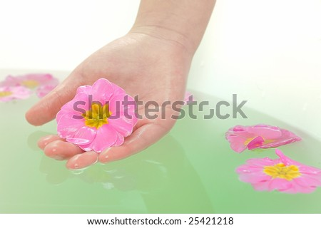girl Hand holding a pink flower in spa