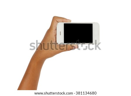 Girl hand holding Smart-phone with blank screen on white background.